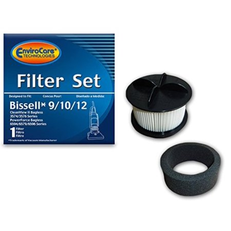 Pleated Form (Replacement Vacuum Filter for Bissell 9/10/12 HEPA Pleated Micro Inner Filter and Outer Foam Filter, Fits: Bissell Bagless Upright Vacuum Cleaners - (1).., By EnviroCare,USA)