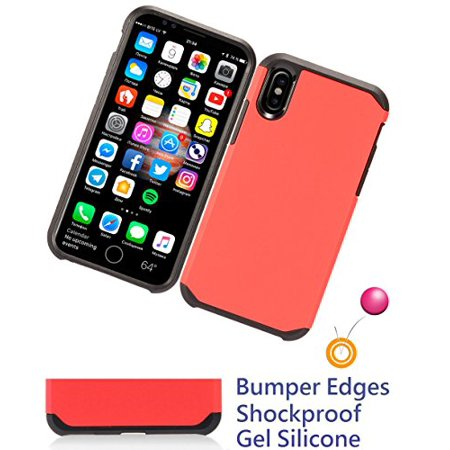 "for 5.8"" iPhone 10 X iphoneX Case Shock Proof Edge Phone Case Scratch Shield Hybrid Armor Layers Slim Bumper Cover Red"