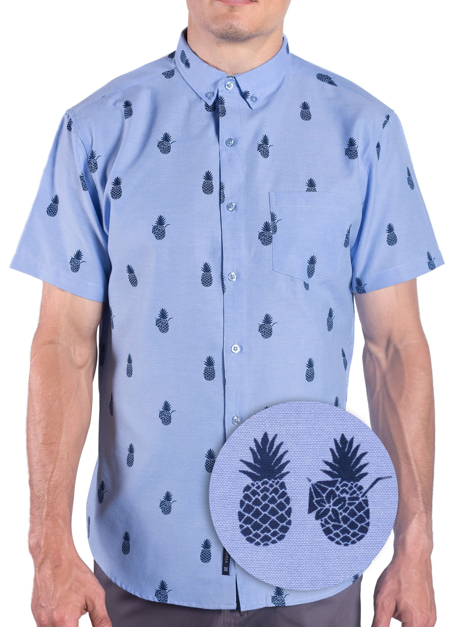 Visive Printed Hawaiian Pineapple Oxford Short Sleeve Button Up Shirt S 4XL