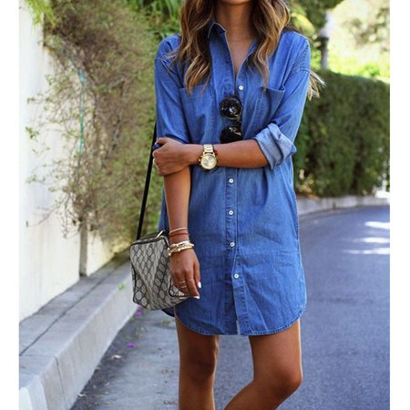 Women Denim Jeans Shirt Dress Short Sleeve Jumper Cocktail Clubwear Mini Dresses Blue S