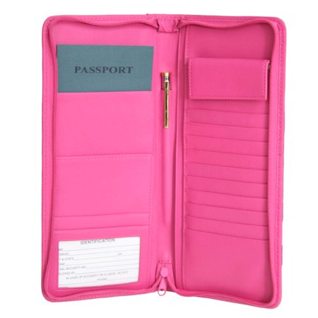 Royce Leather Zippered Travel Document Passport Case & Card Wallet