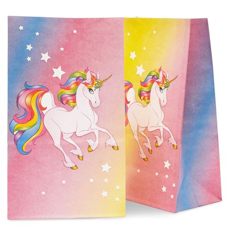 Goodie Bags For Kids (36 pcs Unicorn Party Favor Bags, Unicorn Goodie Bags for Kids, Candy Gift Bags, Treats Paper Bags for Girls Birthday Party, Pink Rainbow Unicorn)