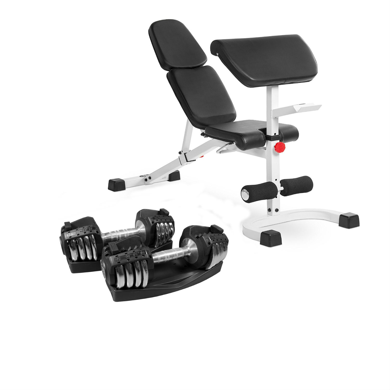 Combo Offer XMark Fitness Flat Incline Decline Weight Bench with Preacher Curl XM-4417-WHITE and Pair of 25 lb. Adjustable Dumbbells XM-3305