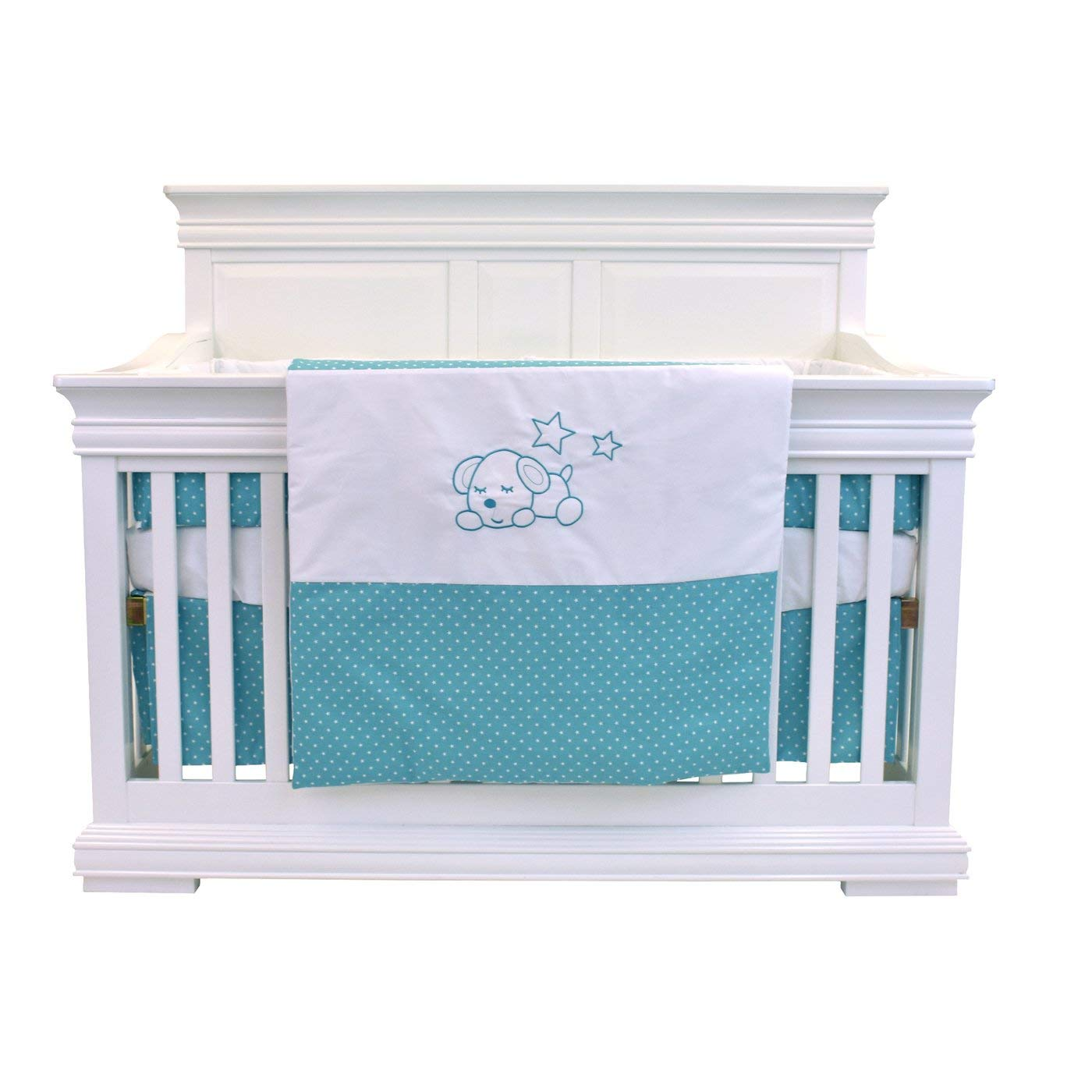 Bebelelo - 5 pieces bedding for baby - turquoise and white with a Sleeping Dog pattern - image 3 of 9