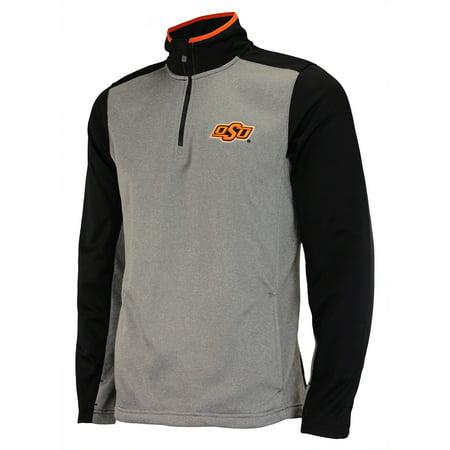 OuterStuff NCAA Men's Oklahoma State Cowboys Top Notch 1/4 Zip Jacket, Grey (Diy Cowboy Vest)