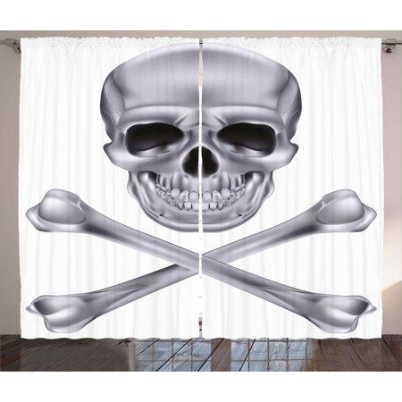 Silver Curtains 2 Panels Set, Vivid Skull and Crossbones Dangerous Scary Dead Skeleton Evil Face Halloween Theme, Window Drapes for Living Room Bedroom, 108W X 108L Inches, Dimgray, by Ambesonne (Scary Halloween Themes For Windows 7)