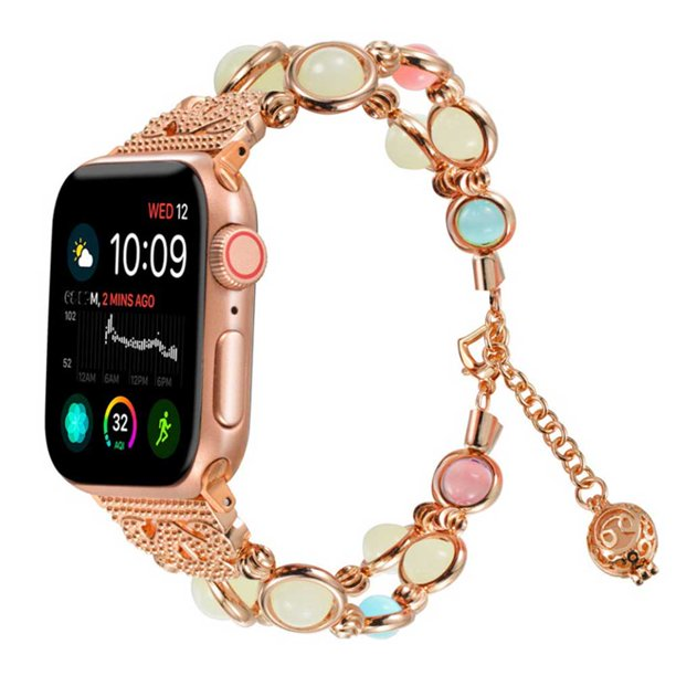 Amgra Band For Apple Watch 38 40mm 42 44mm Series 5 4 3 2 1 Adjustable Wristband Handmade Night Luminous Pearl Bracelet For Iwatch With Essential Pendant For Women Girls Rose Gold 38 40mm Walmart Com Walmart Com