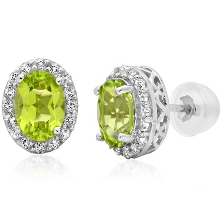 10K White Gold Stud Earrings made with Swarovski Cut Peridot and White Topaz (1 3/4ct tw)