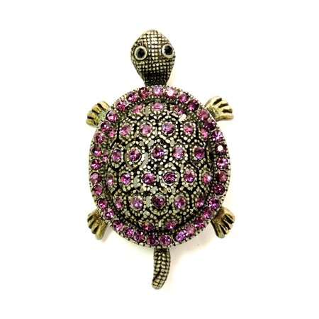 Turtle Pin Brooch Amethyst Color Purple Crystal Vintage Style Lucky Sea Animal