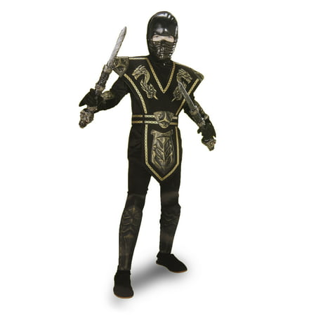 Ninja Warrior Black and Gold Costume Youth Size Large 12-16 - The Gold Ninja