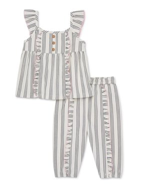 Wonder Nation Baby Girl Striped Ruffle Tank & Pants, 2pc Outfit Set