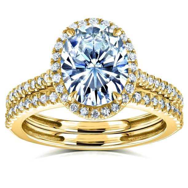 Oval Forever One Moissanite Halo Bridal Rings Set 2 3/8 CTW 14k Yellow Gold (DEF/VS, GH/I), 4.5