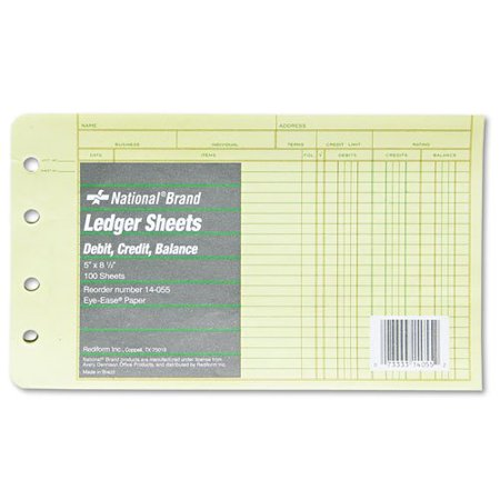 Brand Products -  Brand - Extra Sheets for 4-Ring Ledger Binder, 8-1/2 x 5-1/2, 100/Pack - Sold As 1 Pack - Designed for accounts payable and accounts receivable with debit, credit and balance columns ()
