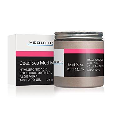YEOUTH Dead Sea Mud Face Mask with Hyaluronic Acid, Aloe, Oatmeal, and Avocado, Minimizes Pores, Reduces Wrinkles, Clears Blackheads, Acne and Helps Oily Skin, Rejuvenates 8oz  GUARANTEED