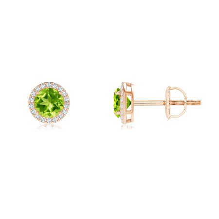 d1381f821bc Women s Day Sale - Vintage-Inspired Round Peridot Halo Stud Earrings in 14K  Rose Gold (4mm Peridot) - SE0862PD-RG-AAA-4