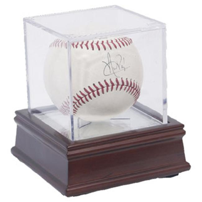 Creative Sports BQ-BASEBALL-GS-UV-Woodbase BallQube Wood Base UV Protected Baseball Display Case-Holder Grand Stand