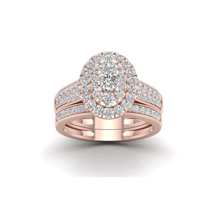 1ct TDW Diamond 14K Pink Gold Oval shaped Bridal Set