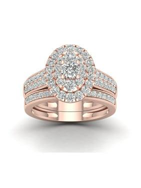 1ct TDW Diamond 14K Pink Gold Oval shaped Bridal Set
