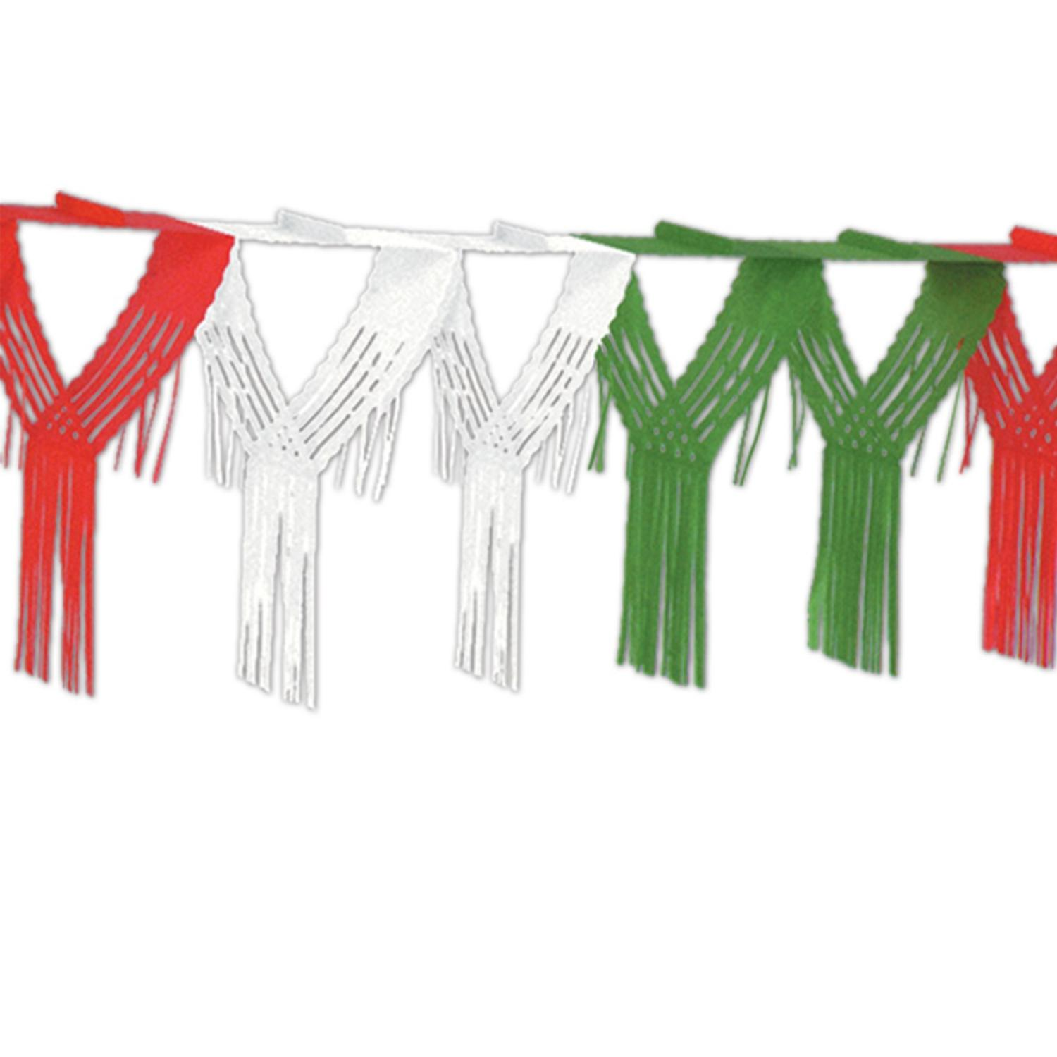 Club Pack of 12 Red, White and Green Drop Fringe Streamer Garland Party Decorations 12'