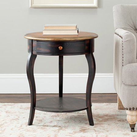 Safavieh emma round table with drawer brown for Light wood side table