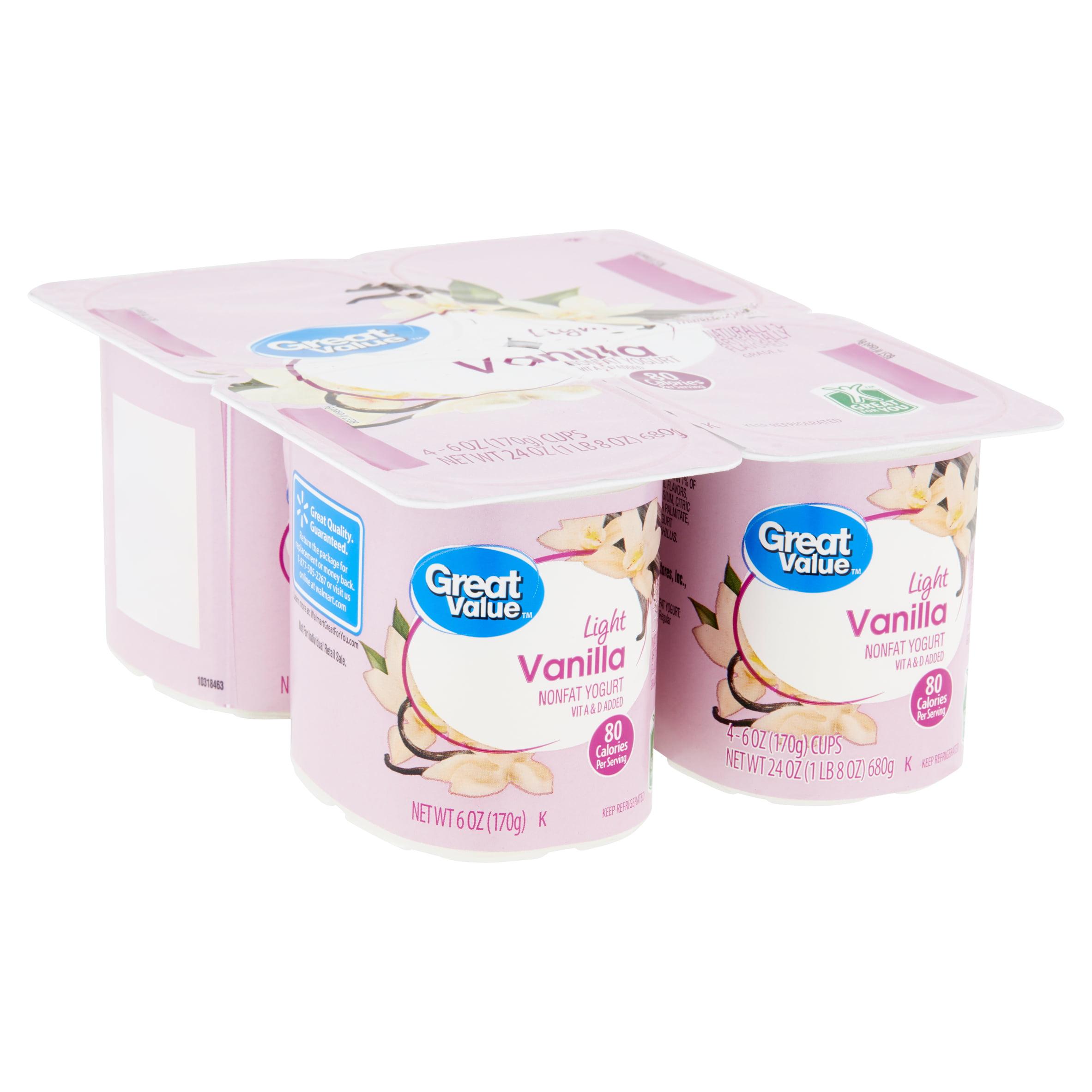 Great Value Light Vanilla Nonfat Yogurt, 6 oz, 4 count
