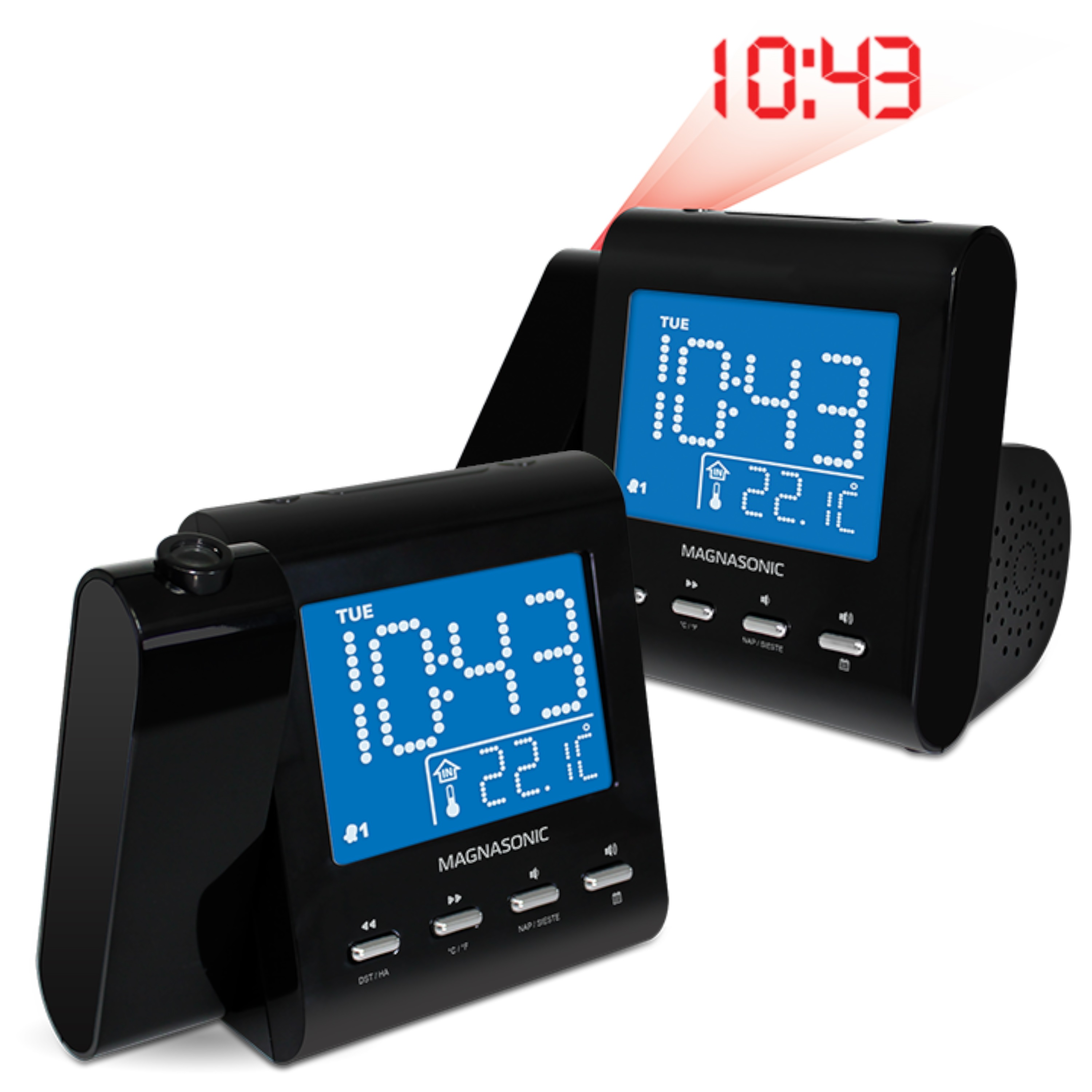 Magnasonic Projection Alarm Clock with AM/FM Radio, Battery Backup, Auto Time Set, Dual Alarm, Sleep Timer, Indoor Temperature/Day/Date Display with Dimming & Audio Input for Smartphones - 2 Pack