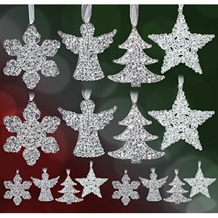Clear Glitter Hanging Decorations - Set of 16 Assorted Shapes - 4 Snowflakes - 4 Angels - 4 Trees - 4 Stars - Sparkly Acrylic - Acrylic Snowflakes
