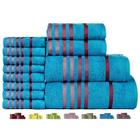 - Casa Copenhagen Exotic Cotton 475 GSM 12 Pieces Designer Bath, Hand & Washcloth Towels Gift Set - Blue Mist