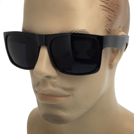 MENS SUPER Dark Black Lens Sunglasses Square Oversized Mob Style Flat Top (Flat Top Lenses)