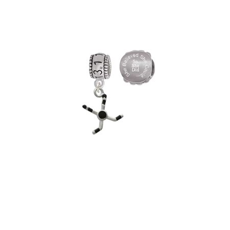 Hockey Sticks with Puck 13.1 Half Marathon Run She Believed She Could Charm Beads (Set of 2) (Marathon Stick)