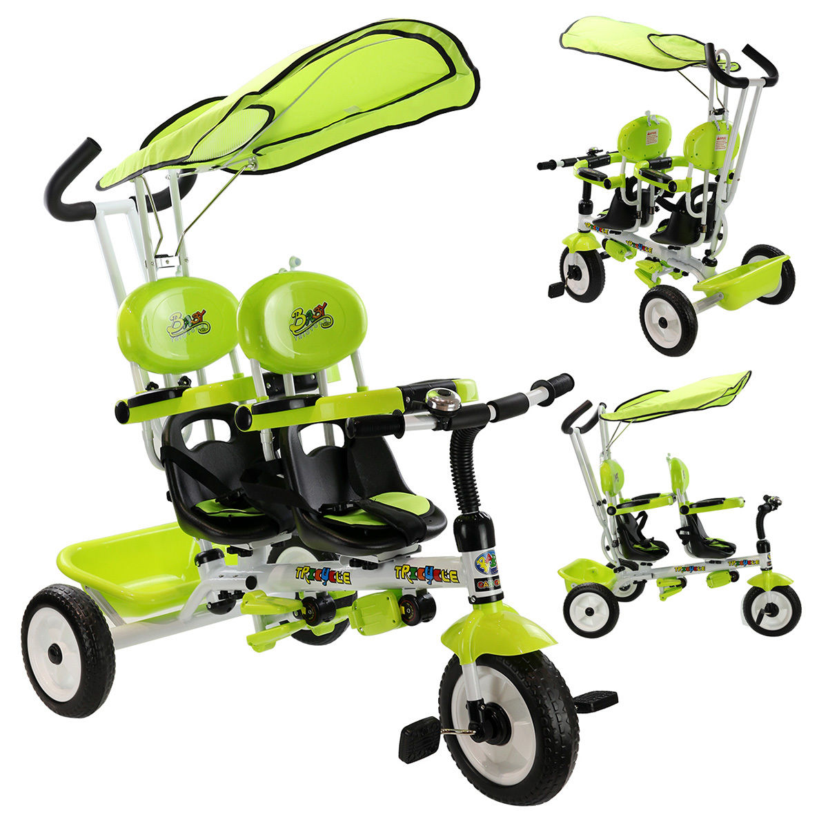 Costway 4 In 1 Twins Kids Baby Stroller Tricycle Safety Double Rotatable Seat w  Basket Green by Costway