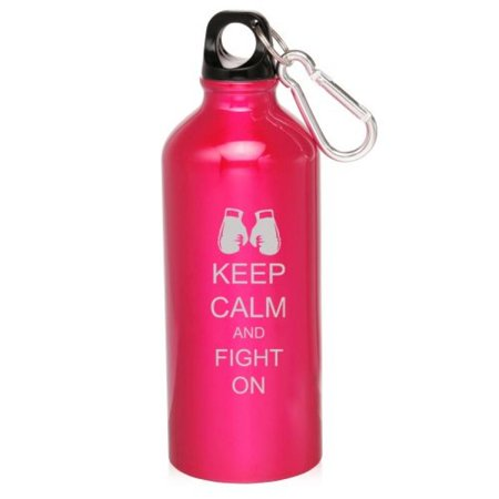 Hot Pink 20oz Aluminum Sports Water Bottle Caribiner Clip ZW220 Keep Calm and Fight On Boxing Gloves Bottle Glove Tank Cover