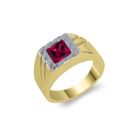 - 1.71 Ct Princess Red Created Ruby 18K Yellow Gold Plated Silver Men's Ring