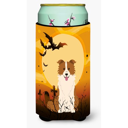 Halloween Border Collie Red White Tall Boy Beverage Insulator Hugger BB4385TBC - Halloween Corner Borders