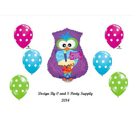 Purple OWL Happy Birthday PARTY Balloons Decorations Supplies - Owl Birthday Party Supplies