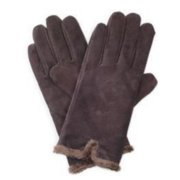 Isotoner Womens Brown Suede Leather Gloves With Back Vent & Microluxe Lining