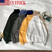 US Winter Mens Slim Warm Knitted Pullover Jumper Sweater Turtleneck Soft Tops