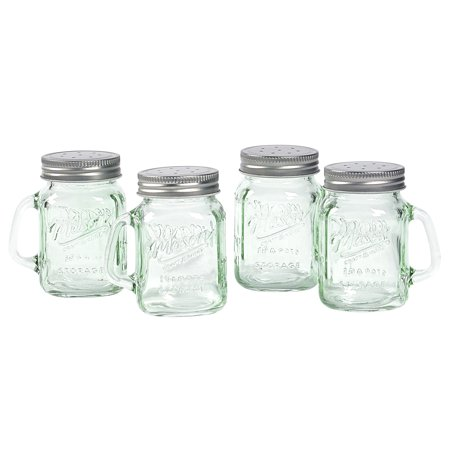 Round Salt And Pepper Set (Mason Craft and More 4 Ounce Round Glass Salt and Pepper with Handle and Silver Metal Lid, Transparent Green, Set of)