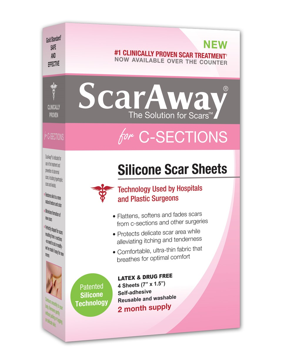 """ScarAway C-Section Scar Treatment Strips, Silicone Adhesive Soft Fabric, 7"""" X 1.5\ by Perrigo"""