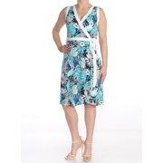 TOMMY HILFIGER Womens Blue Floral Sleeveless V Neck Knee Length Wrap Dress Dress  Size: 2
