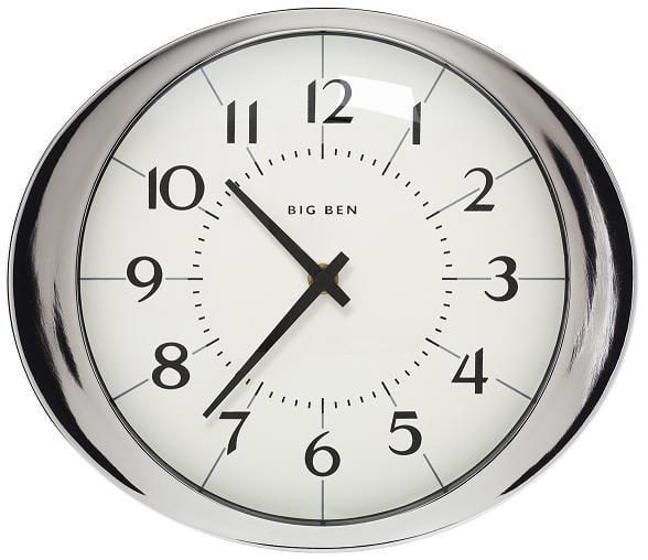 Big ben 1939 white dial alarm clock brushed nickel - Large brushed nickel wall clock ...