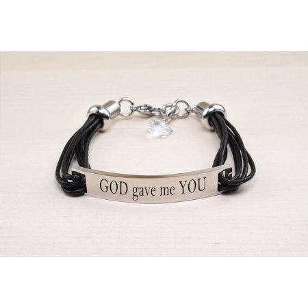 Genuine Leather ID Bracelet with Crystals from Swarovski - GOD GAVE ME YOU