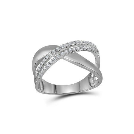 FB Jewels 10kt White Gold Womens Round Diamond Crossover Band Ring 3/8 Cttw
