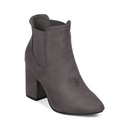Women Faux Suede Pointy Toe Block Heel Chelsea Bootie - 18075 By Yoki Collection - Heel Collection