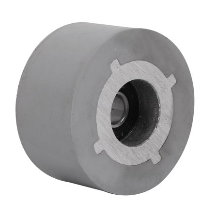 Unique Bargains 48mmx8mmx25mm Rubber Coated Steel Pinch Roller Rolling Wheel Gray ()