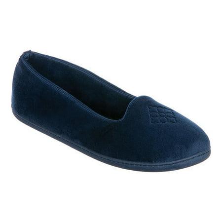 bae5356badb6 Dearfoams - Dearfoams Women s Microfiber Velour Closed Back Slippers ...