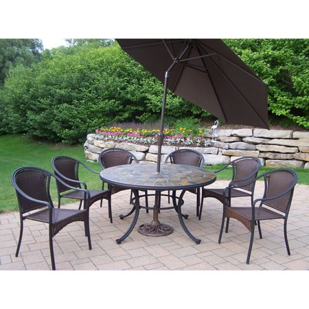 Oakland Living Stone Art All Weather Wicker Patio Dining Set - Seats