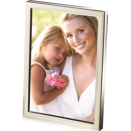 Super Sticky Sweet Pea - Silver-Plated Metal W/White Epoxy Border 4X6 Photo Frame Designer Jewelry by Sweet Pea