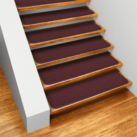 Set of 12 Skid-resistant Carpet Stair Treads - Burgundy Red - 8 In. X 23.5 In. - Several Other Sizes to Choose From