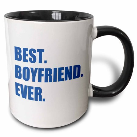 3dRose Dark Blue Best Boyfriend Ever navy text anniversary valentines day, Two Tone Black Mug,